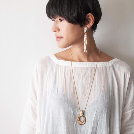 STONE rattan adjaster necklace(marble×gold)