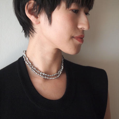 BLOCK PEARL beads fringe 2way necklace