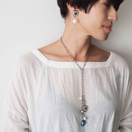 HEART chain necklace(blue×silver)