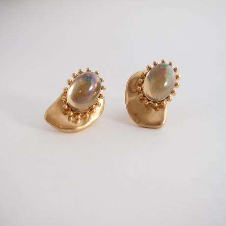 CAMELEON cabochon pierce/earring (gold)