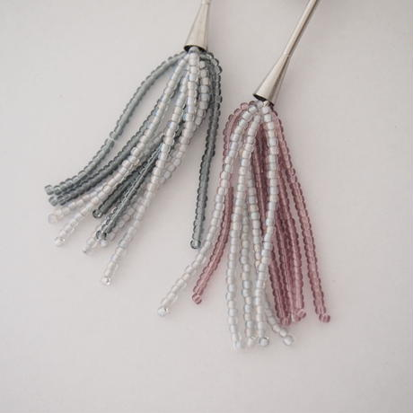 BLOCK PEARL beads fringe pierce/earring