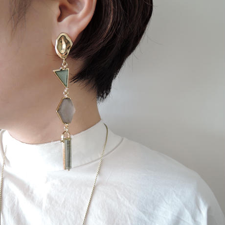 VITRAIL long pierce/earring(gold)