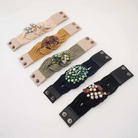 【Unique Line】Vintage code bracelet(base:black)
