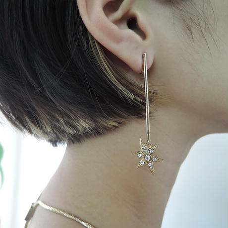 MOON and STAR stick pierce/earring (gold)