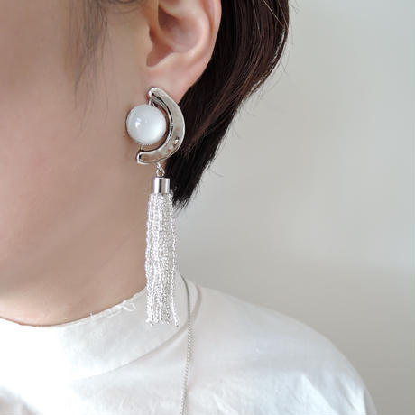 FRAGMENT glass tassel earring(silver)
