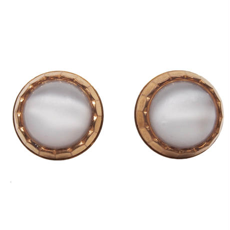 VINTAGE button earring(white)