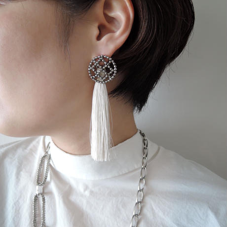 CUTSTEEL quilt tassel 2way pierce/earring(silver)