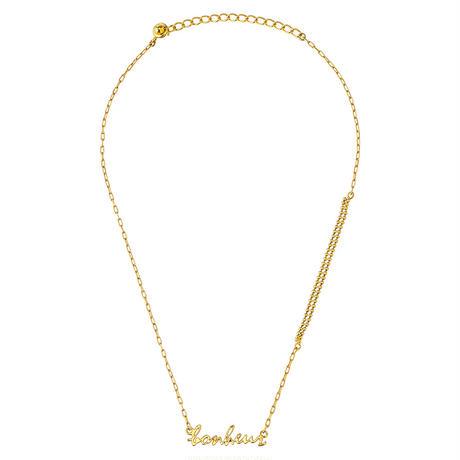 Bonheur lettered short  Necklace(gold)