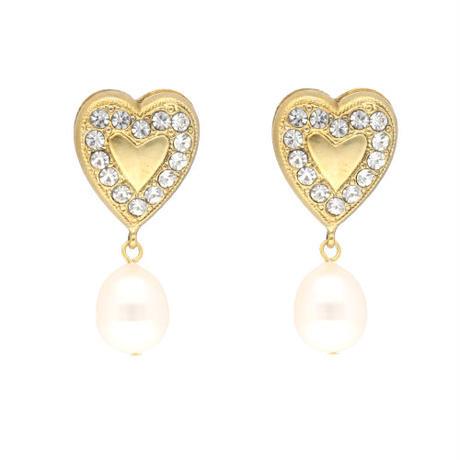 HEART pearl pierce/earring(gold)