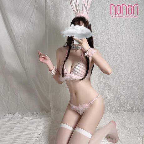 ピンクしまうさぎビキニランジェリーセット1217