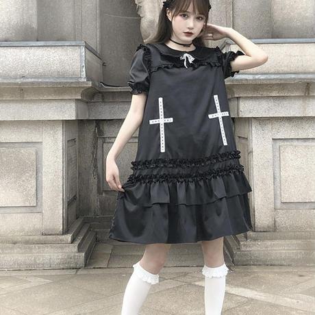 ゴシックレース十字架ワンピース