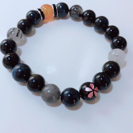 天然石 パワーストーン 桜モチーフ メンズブレスレット オニキス(5)