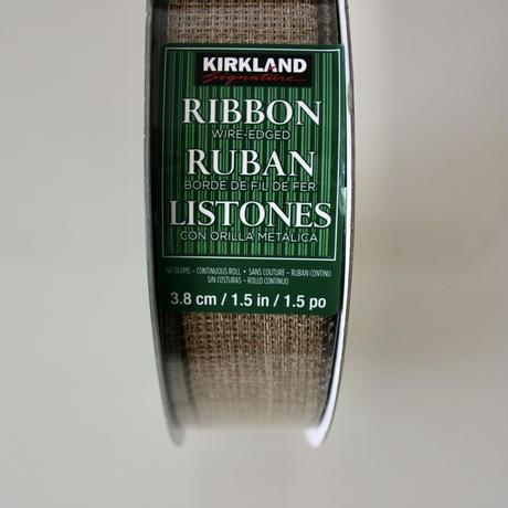コストコ カークランド・シグネチャー ワイヤー入りリボン ナチュラル&チェックの2ロールセット