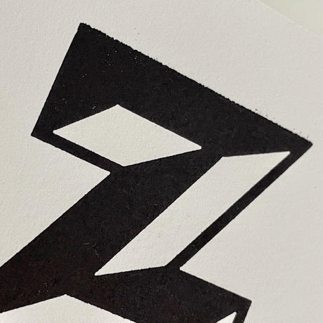 額装したアルファベットレタープレスカード by Stephen Kenny