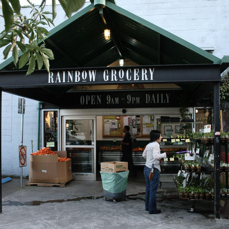 Rainbow Grocery ストライプの持ち手のオリジナル COTTON TOTE