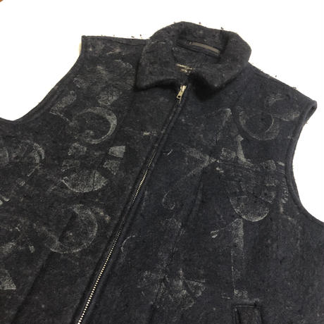 "95AW COMME des GARCONS HOMME PLUS ""SLEEP"" Number print mohair wool pilling wide vest Size M"