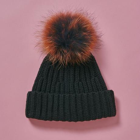 Pompom knit cap  -  BLK×ORN