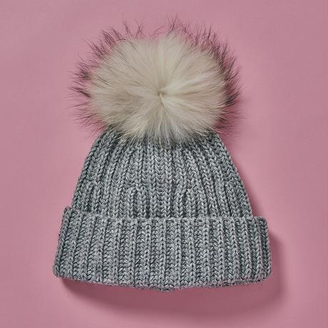 Pompom knit cap  -  GRY×WHT