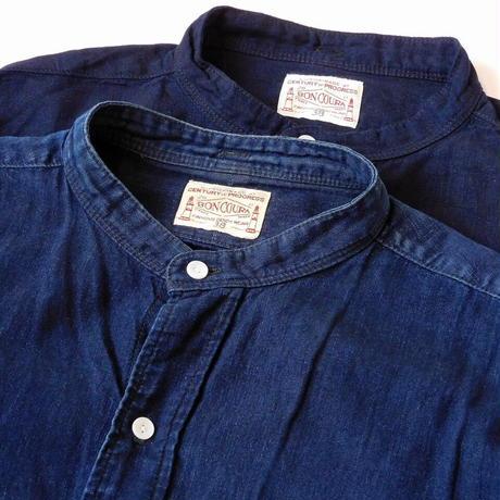 Boncoura Band Collar Shirt Indigo Linen