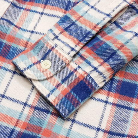 Boncoura Flannel Shirt Navy × White Plaid
