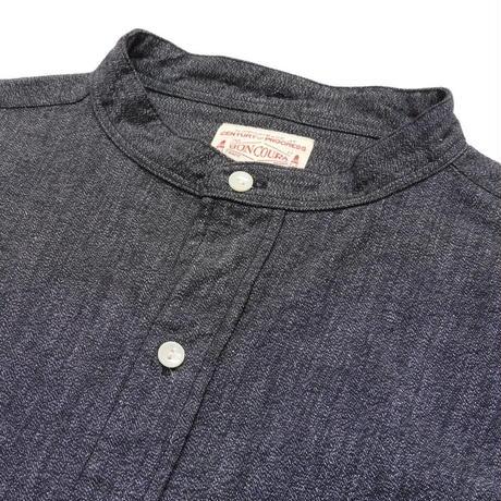 Boncoura Band Collar Shirt Black Chambray