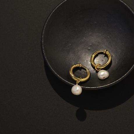 2way tansui pearl hoop earring