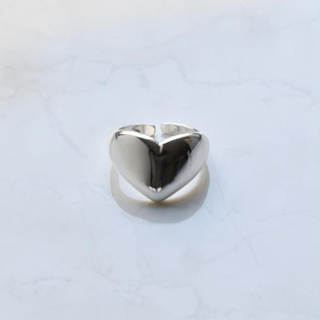 silver925 large heart ring