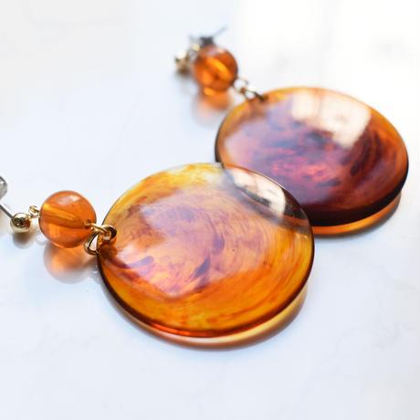 tortoiseshell pattern circle earring / pierce