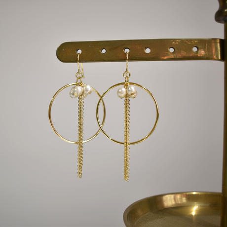 p199 wood pearl chain tassel+hoop pierce