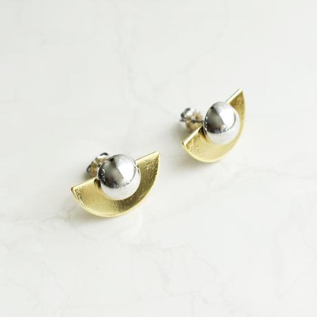 mix color semicircle pierce/earring