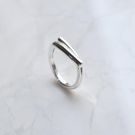 silver925 crossing bar ring