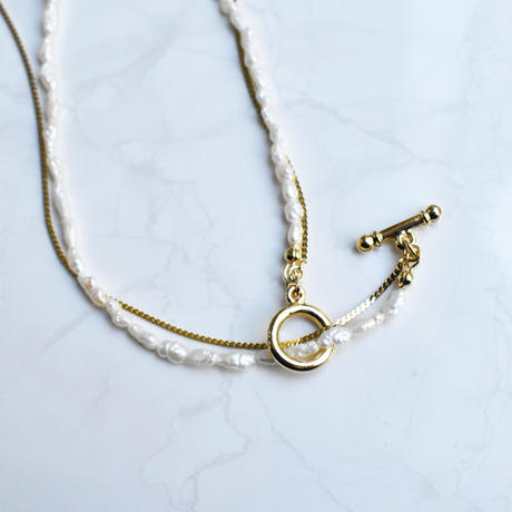 2line pearl × metal necklace