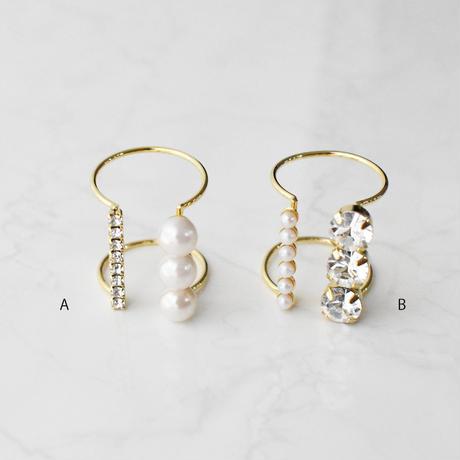 bijou × pearl  wide ring