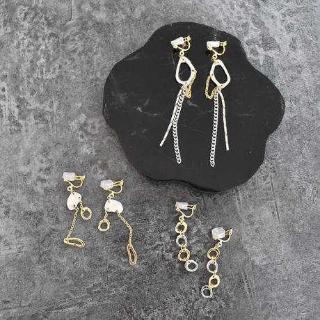 e109/p218 gold +silver MIX earring / pierce