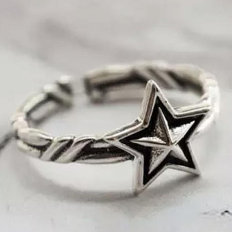 silver925 vintage star ring