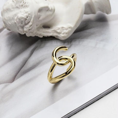 silver925 twist  gold ring