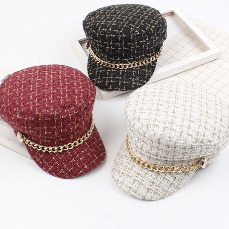 tweed gold chain casquette