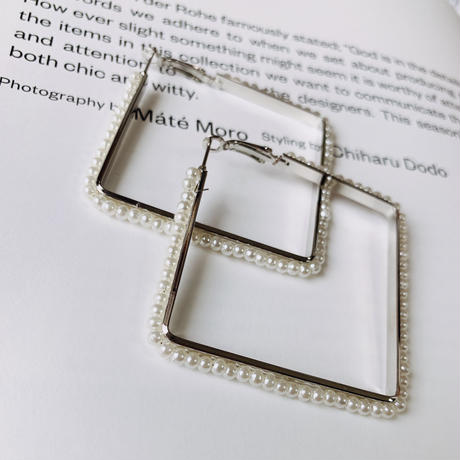 square pearl hoop   pierce