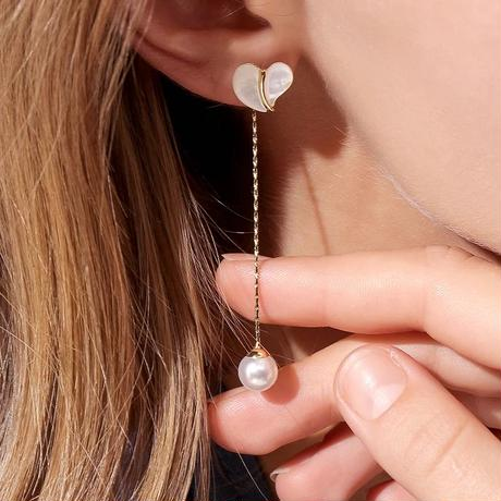 heart shell chain long pierce