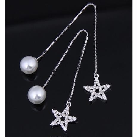 star chain long pearl catch pierce