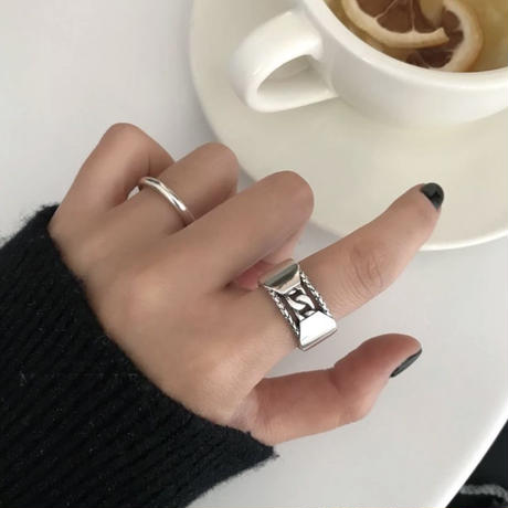 silver925 metal chain ring