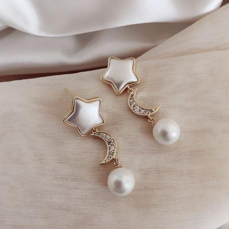 star × moon pearl pierce