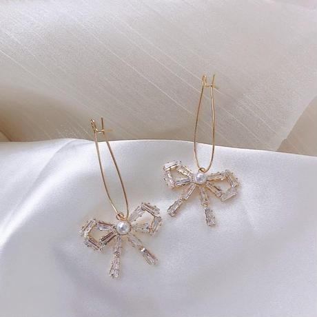 ribbon bijou × Pearl pierce