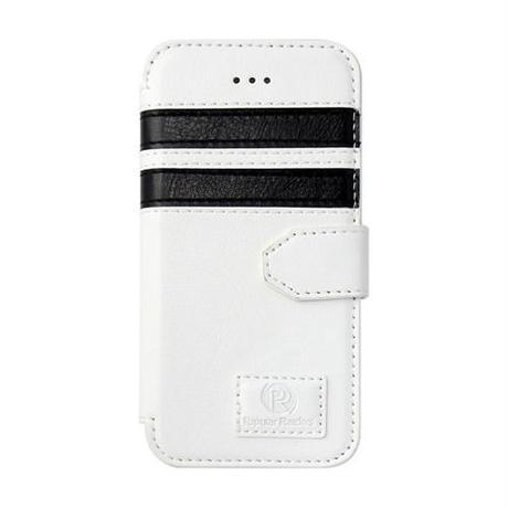 【SALE】iPhone5/5s 手帳型レザーケース ツーストライプ / ホワイト