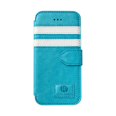 【SALE】iPhone5/5s 手帳型レザーケース ツーストライプ / ブルー