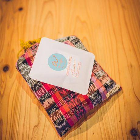 ILOITOO巾着袋(pinkred)×ai coffee ドリップバックコーヒー3袋