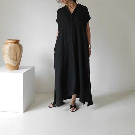LINEN TWILL AMBIENCE  DRESS/BLACK