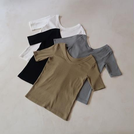 RANDOM RIB DRY-COTTON T SHIRT/KHAKI