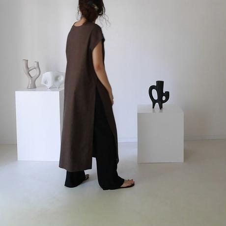 DEPTH PLANE STRECH LINEN CAFTAN DRESS/DARK CHOCO