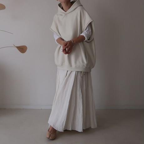 FRENCH  LINEN  WASHABLE FLARE-SKIRT/WHITE/7月上旬発送